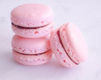 Edible Favor French Macaron 12 Strawberry Basil Macaroons Gift Splendid Sweet