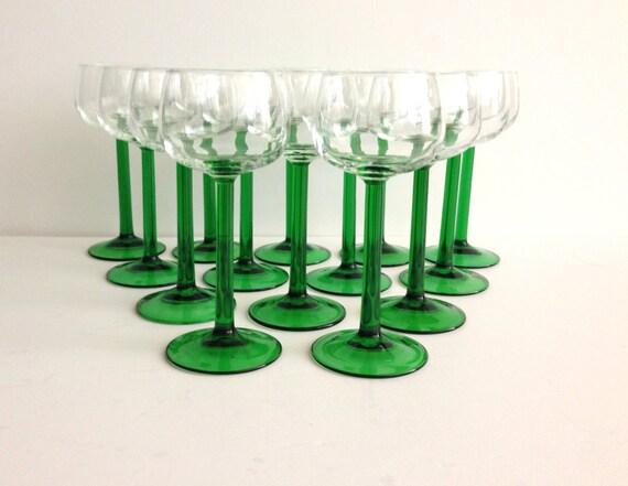 1970s Luminarc Small Alsace White Wine Glasses Green Stem