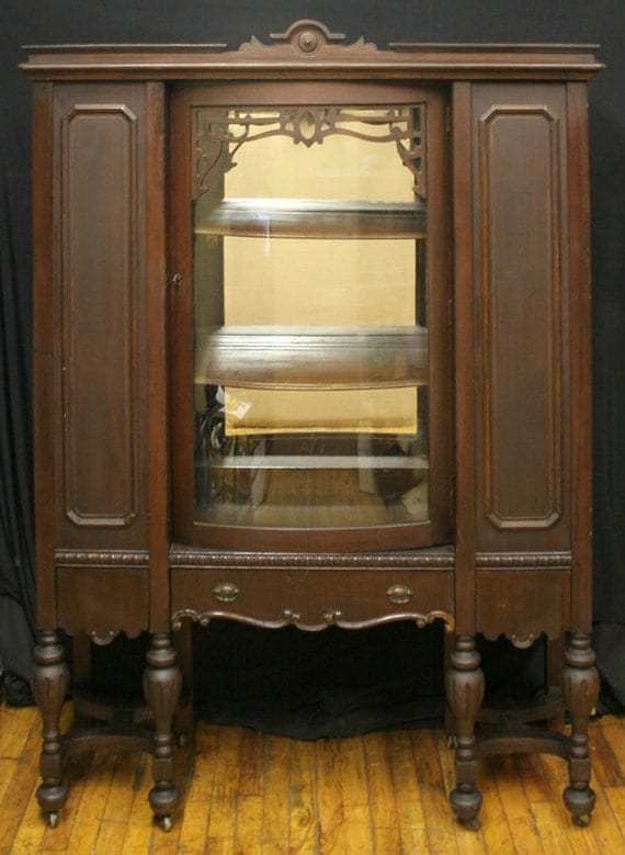 Antique Victorian Walnut Bowed Glass China Hutch Storage