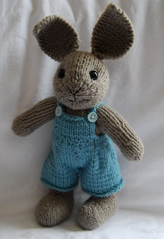 HandKnit Boy Easter Bunny Stuffed Toy with Overalls by Hipknittist