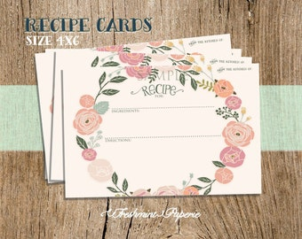 Printable recipe cards - immediate download - recipe card - Freshmint Paperie