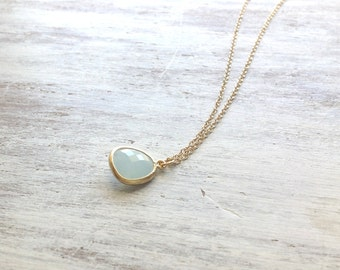 Gold necklace, Crystal Necklace, Delicate Necklace, bridesmaid necklace, Blue Stone Pendant Necklace, wedding jewelry, bridesmaid jewelry