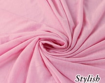 LIGHT PINK Rayon Jersey Knit Fabric Pink Tissue Knit Fabric by the yard Apparel Dress Shirt Arts and Crafts Fabric - 13237