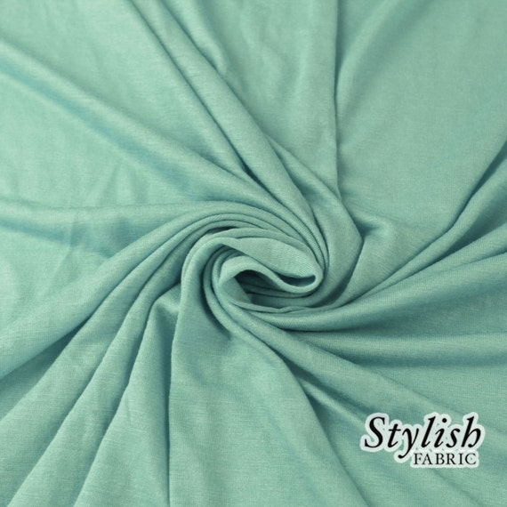 AQUA BLUE Rayon Jersey Knit Fabric BLUE Tissue Knit Fabric by the yard Apparel, Party Decoration, Arts and Crafts Fabric - 13237