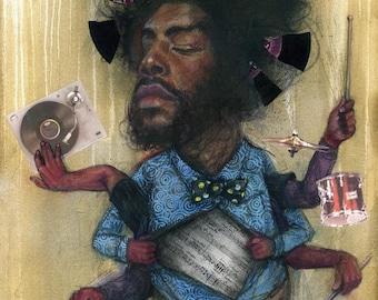 """Questlove Art Print - The Roots Art - Philadelphia Art - Music Art - Wall Art - """"Quest Love"""" by Black Ink Art"""