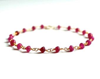 Ruby Bracelet/Beaded Rubies/Beaded Bracelet/Beaded Jewelry/Dainty Everyday Jewelry/Gift Ideas