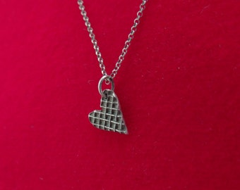 Silver Rolo Chain Necklace with Heart Charm