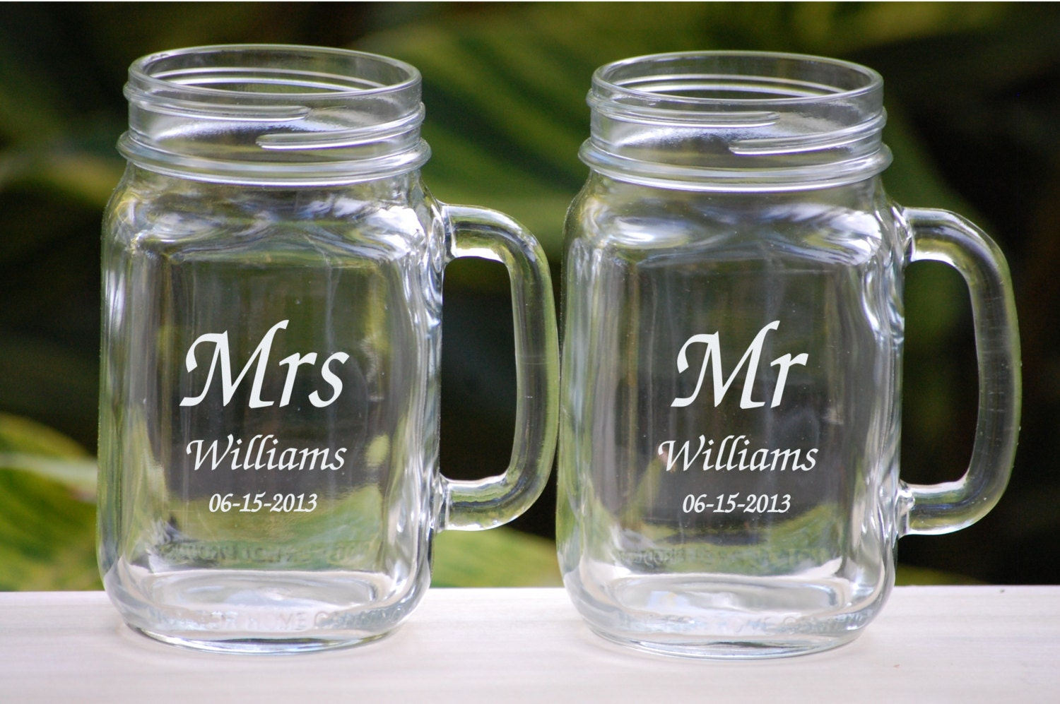 Engraved Wedding Mugs : Personalized Mason Jar Glasses Wedding by UrbanFarmhouseTampa