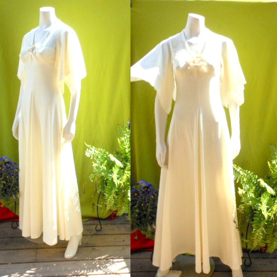 Maxi dress wedding cream angel wing sleevesvintage 1970s for Angel wings wedding dress