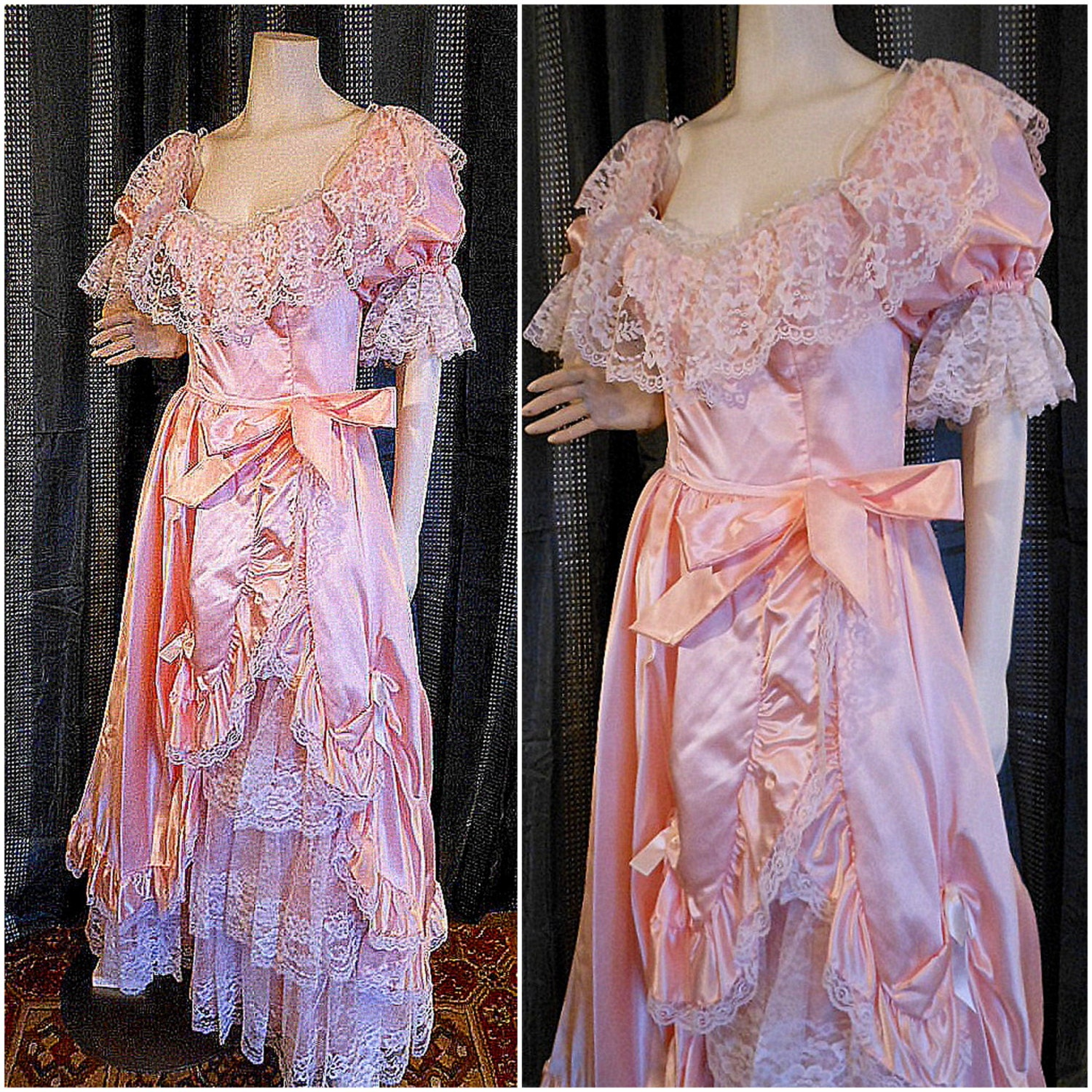 Vintage Wedding Dresses 80s: Vintage 70s-80s Victorian Gown Dress Pink Lace Ruffled