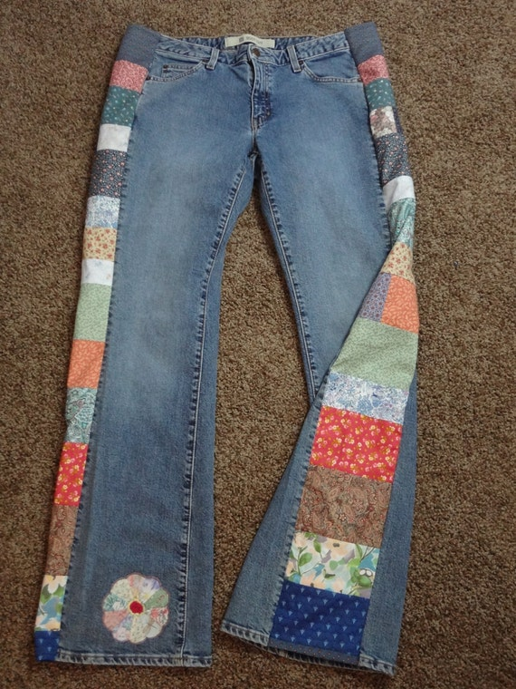 Handmade Hippie Patchwork Jeans Flower Patch Womens