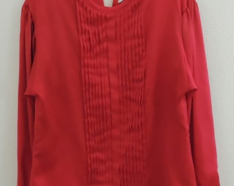 Vintage 1970s Womens Red Satiny Pleated Front Blouse by Judy Bond Size Medium 8/10
