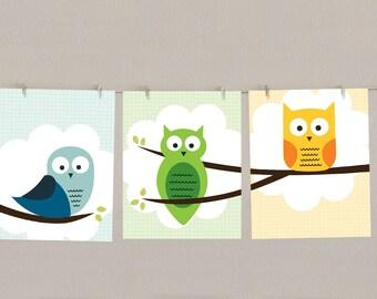 Owl Wall Art - Nursery Decor - Children's Print - Set of 3, each 8x10
