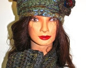 OOAK Pure wool Crocheted Hat and scarf in greys, greens and blues.