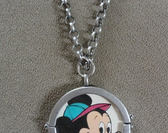 """Rare Vintage 1960's Mickey Mouse """"Educational Card Game"""" Pendant with Chain (reversible locket)"""