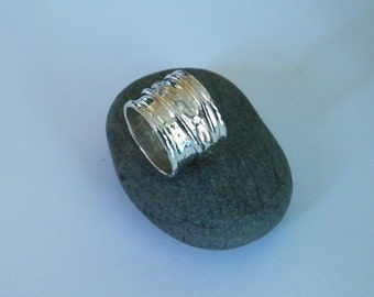 Handcrafted Triple Band Sterling Silver Spinner Ring Silver .925 Ring -Custom Size