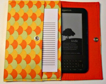 iPad Mini, Kindle, Nook, Kobo, Sony Reader, Samsung Galaxy, Small eReader Padded Case (READY TO SHIP) - Sherbert