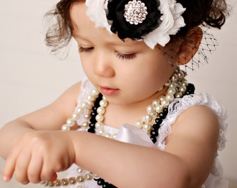 Vintage Baby Headband Shabby Chic Newborn Headband Black and White Rhinestone Headband Infant Baby Toddler Girl Adult