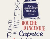 "Retro Paris Art Print by French Artist Emmanuel Touche ""Bar Pigalle"" Offset Lithograph"