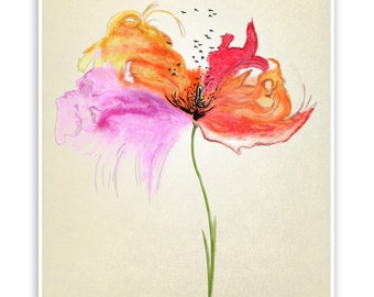 "Colorful flower. Decoration print  8""x10""."