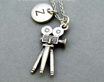 Movie Camera necklace, film necklace, initial necklace, initial hand stamped, personalized, antique silver, monogram