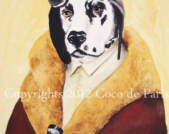 Drawing portrait paintings Illustration Giclee Prints Posters Mixed Media Art Acrylic Original Painting : Adventurous Dalmation