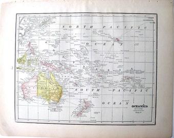 1891 Antique Map of Oceanica