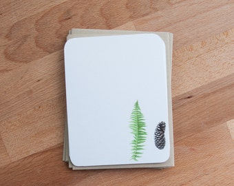 Stationary Set- Fern and Pinecone - Personalized Stationery Note Cards