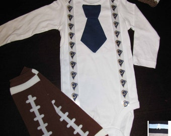 ST. LOUIS RAMS inspired football outfit for baby boy - tie bodysuit with suspenders, crochet hat, leg warmers