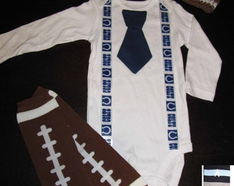 INDIANAPOLIS COLTS inspired football outfit for baby boy - tie bodysuit with suspenders, crochet hat, leg warmers