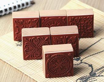 Square Lace Stamp Set -- Korean Rubber Stamp Set