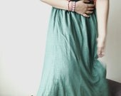 1970s Hippie kelly irish Green High-waist long Swing Skirt (M) -  Paris Fashion - Spring - SpaceMauve