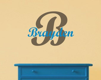 Monogram Vinyl Decal - Personalized Name Wall Decal - Monogrammed Vinyl Lettering - Boys Room Decor