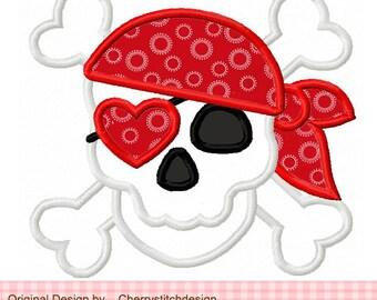"Pirate Skull Valentine's Day Machine Embroidery Applique Design  -4x4 5x5 6x6"""