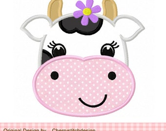 """Cow with flower Machine Embroidery Applique Design - 4x4 5x5 6x6"""""""