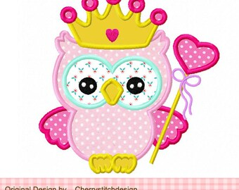 Owl Princess owl Machine Embroidery Applique Design -4x4 5x5 6x6""