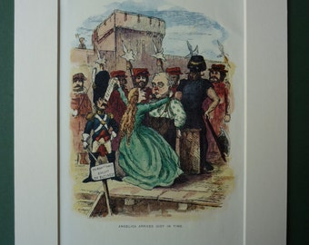 Vintage 1940s William Makepeace Thackery Matted Print - Angelica - Rose & The Ring - Execution - Bulbo - Deathrow - Caricature - Reprieve