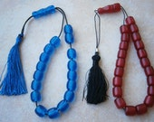 GREEK BLUE or Red Resin Bead String tassle Worry Beads komboloi Bead Turkish Masbaha kabbalah tasbih Greece Begleri
