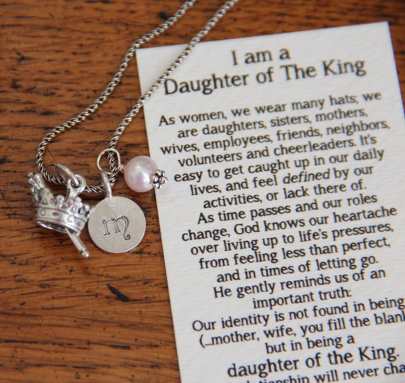 Daughter Of The King Initial Necklace Graduation Sterling
