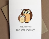 Cute Owl Father's Day Card - Whoo's the best - 3 Variations Available - Recycled Paper - karockspaper
