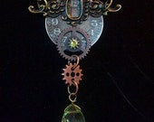 Steampunk Clock and Key Hole Necklace