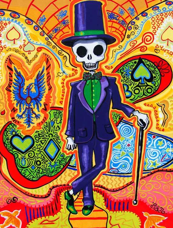 Trippy scheletro art print halloween decor psichedelico gotico for Poster psichedelici