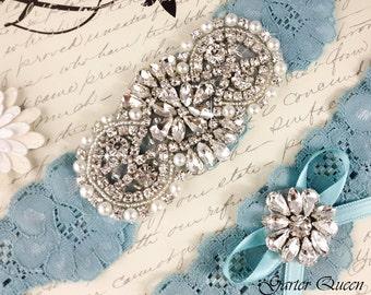 Something Blue Lace Garter Set, Rhinestone Garter, Lace Wedding Garter Set, Blue Bridal Garter Set, Crystal garter, Lace Garter
