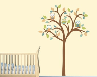 Wall stickers, Boy Room Wall Decal, Owl tree wall decal, Nursery Wall decal, Tree Wall Decal, Noah Orange Design