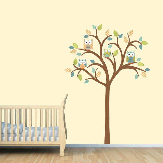 wall decal owl tree wall decal nursery wall decal tree wall decal