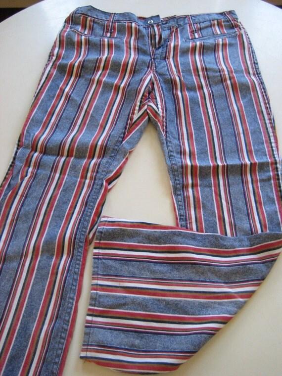 Unisex - Red White Blue Striped - Bell Bottom Hip Huggers - Jim Morrison - Janis Joplin Style