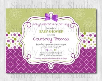 DIGITAL GIRL Purple and Green BABY Shower Invitation Dots bow Invite You Print