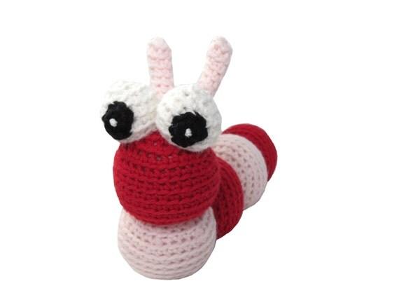 Crocheted Red Valentine Caterpillar