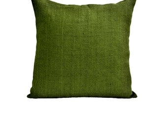 Decorative Pillow Case - Green Burlap Pillow Cover - Hessian Cushion - Home Decor -Jute Throw Pillow -Gift -Porch Pillow -Housewarming Gift