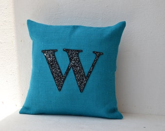 Customized Sequin Monogram decorative pillow- Sequin Throw pillows -Blue Burlap pillow cover - Cushion cover 18X18 -Initial pillow -alphabe